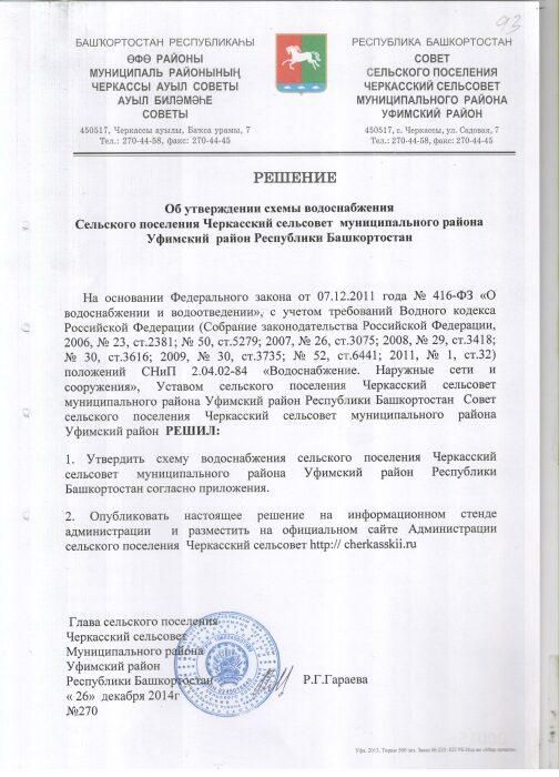 решение № 270 об утверждении схемы вдоснабжения